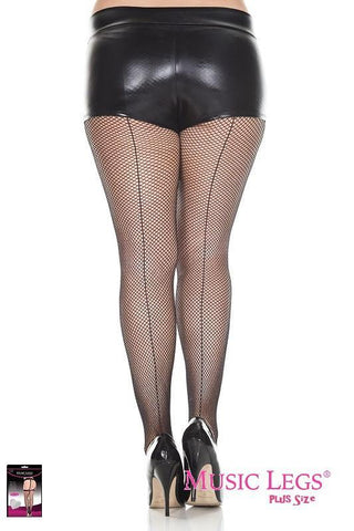 Black Fishnets Pantyhose Tights Stockings With Back Seam Plus Size