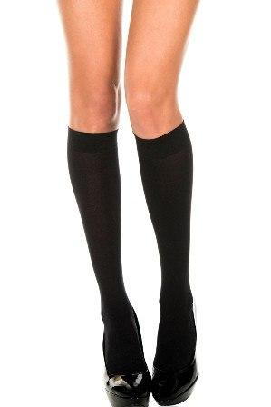 Hosiery - Knee-His Black Stockings Opaque Knee High Womens Adult Socks
