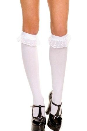White Lace Ruffle Trim Socks Opaque Knee High Ladies Stockings Fancy Hosiery