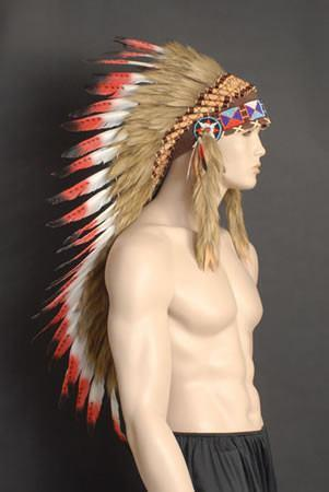 Indian - Indian Headdress Feather Medium Red