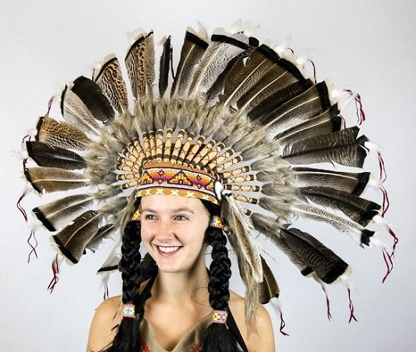 Native American Feather Headdress With Turkey Feathers War Bonnet