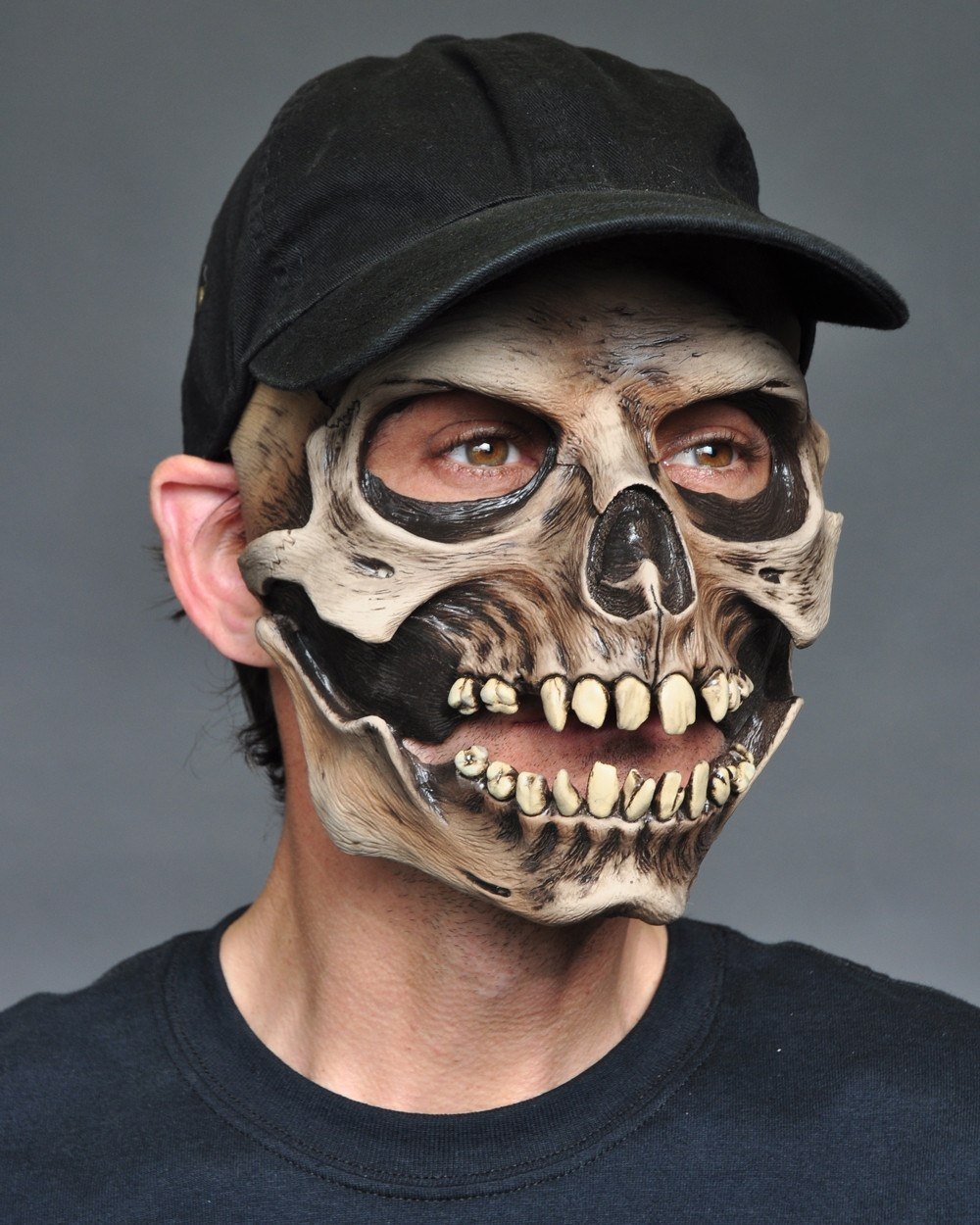 Skull Halloween Mask With Cap And Moving Mouth – Disguises