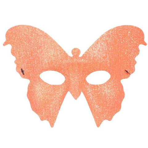 Bright orange glitter butterfly masquerade mask with elastic band