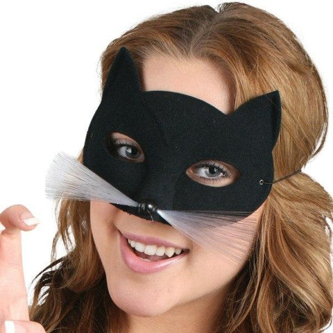 Masquerade Masks Woman - Mask Tabby Cat Black With Whiskers