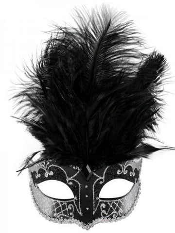 Black and silver Venetian style women's masquerade mask with tie up ribbon and black feathers