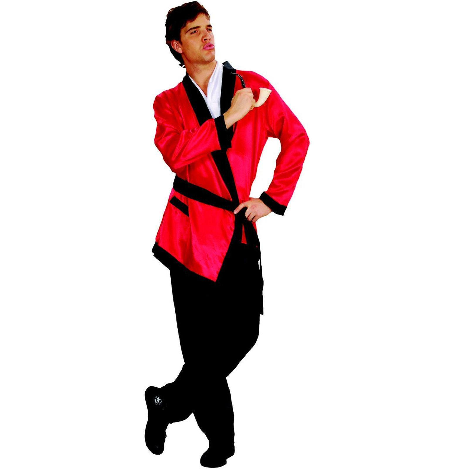 Red Smoking Jacket Playboy Robe Fancy Dress Party Costume