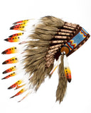 Native American Indian Headdress Yellow Orange Red Chief Feather War Bonnet
