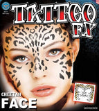 Fake Tattoos - Cheetah Full Face Temporary Stick On Tattoo