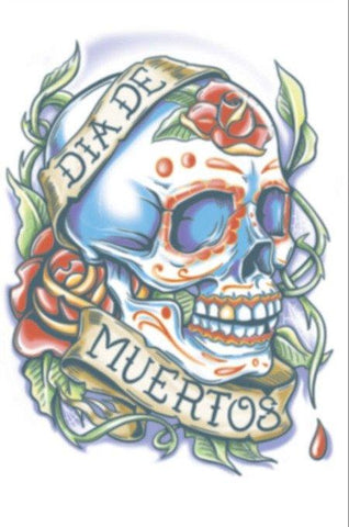 Tattoos - Day Of The Dead - La Rosa - Temporary Tattoo