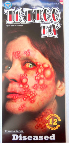 Diseased Gory Halloween Horror Trauma Temporary Costume Tattoo