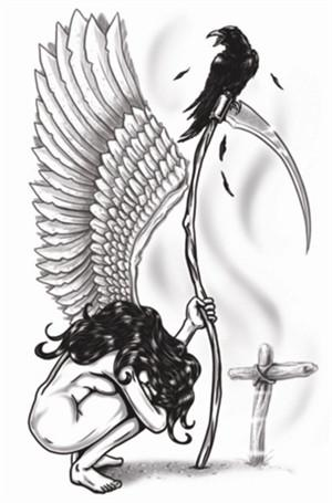Tattoos - Gothic - Angel Of Death - Temporary Tattoo