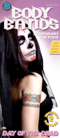 Tattoos - Skull And Roses - Body Bands - Temporary Tattoo
