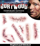 Tattoos - Stitched Horror Monster Make Up Halloween Party Temporary Tattoos