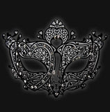 Black Metal Filigree Ladies Venetian Mask Oriental Masquerade