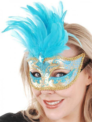 Aqua Blue Feather Mask Women's Masquerade
