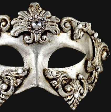 Silver Venetian Mask Baroque Harlequin Masquerade With Crystal