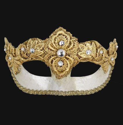 eye-mask is a crackled white with gold woven embellishments and crystal and pearl accents