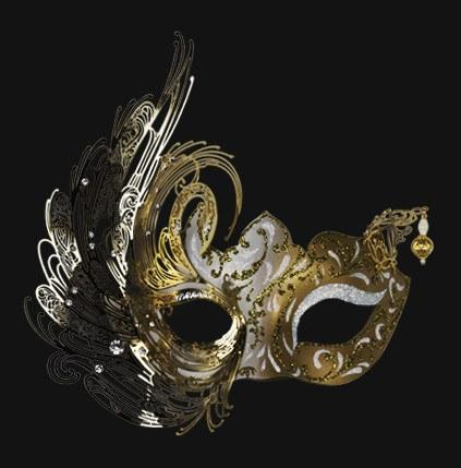 ladies mask swan design in white and gold with silver detailing