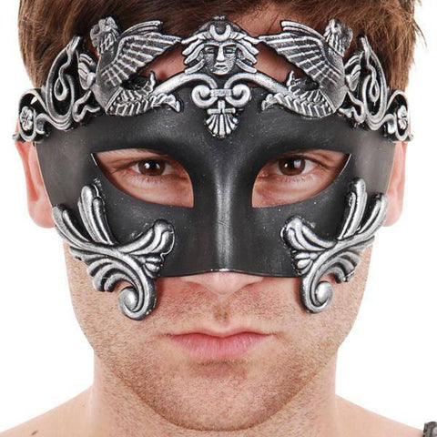 Men's Masquerade Venetian Griffin Style Mask Black and Silver