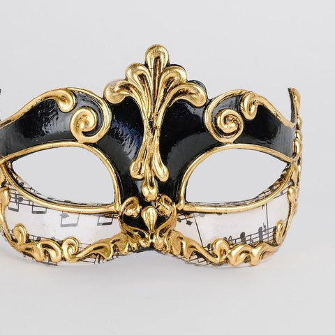 Traditional Venetian Mask Black & Gold with Music Paper