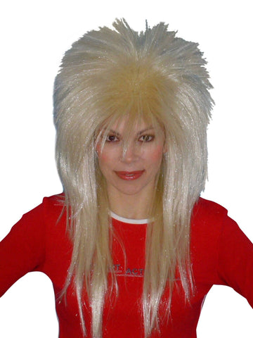 80 s Blonde Spiky Glam Rock Layered Wig Party Costume Women s Mullet 15a36c79b