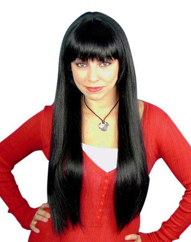 Long straight black female costume wig with fringe