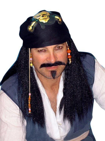 Black Straight Pirate Captain Costume Wig