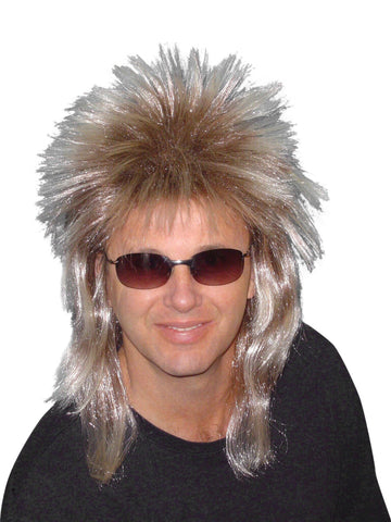 Blonde Mens Spiky 80s Mullet Wig