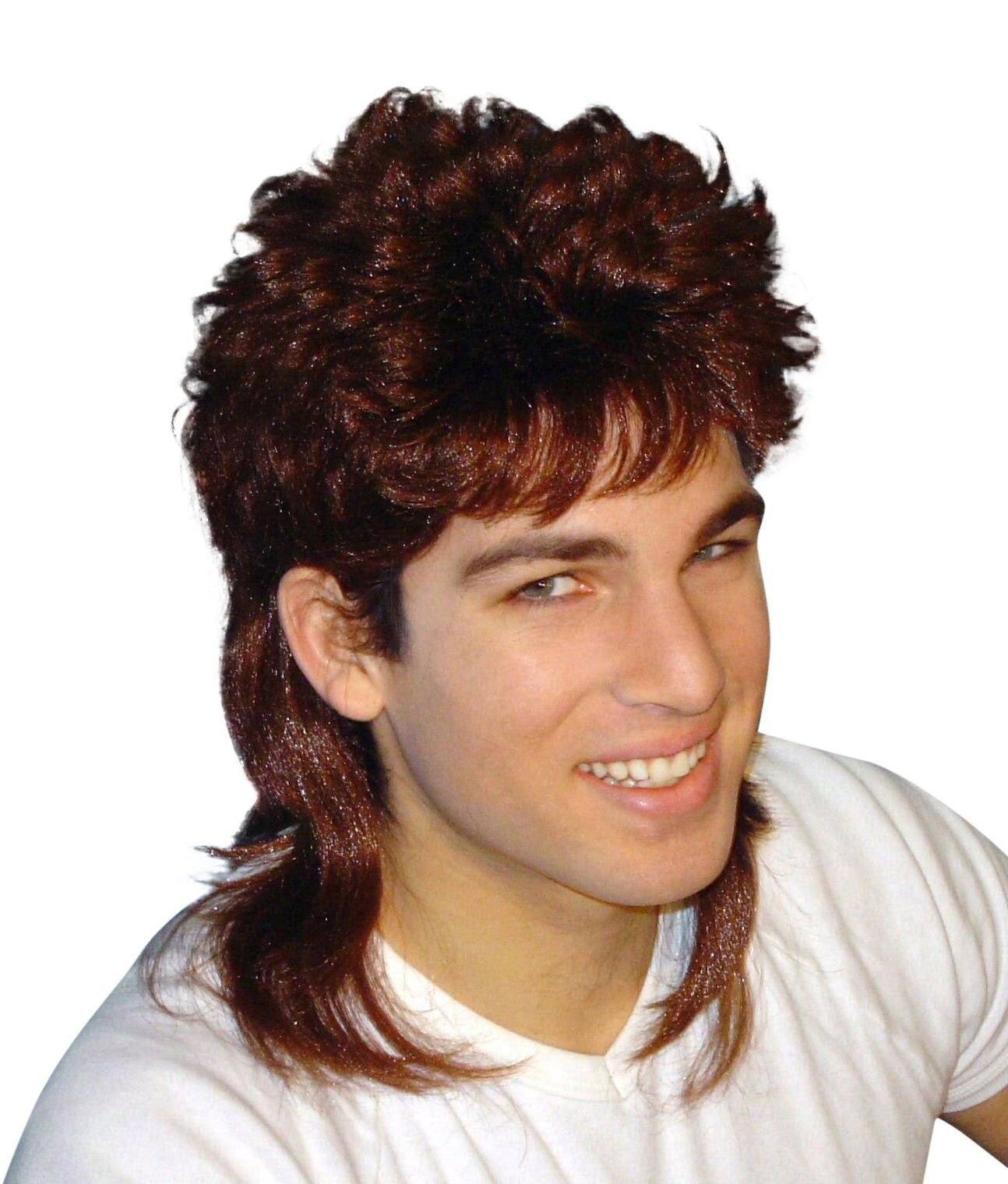 Brown Mullet Wig Fancy Dress 70s 80s Costume Party Bogan Rock Hair ...