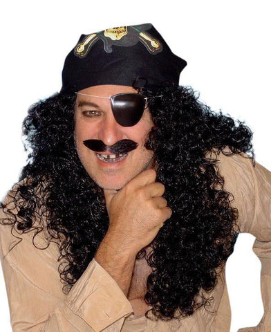 Captain Hook Wig Black Curly Pirate Costume Accessory