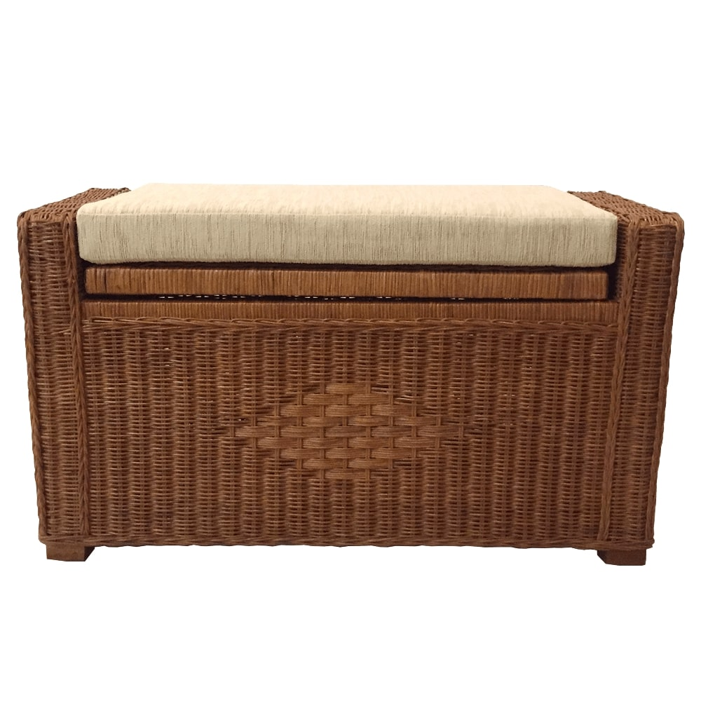 Groovy Natural Rattan Wicker Handmade Chest Storage Ottoman Bench Size 26 Inch With Cushion Model Adam 5 Colors Alphanode Cool Chair Designs And Ideas Alphanodeonline