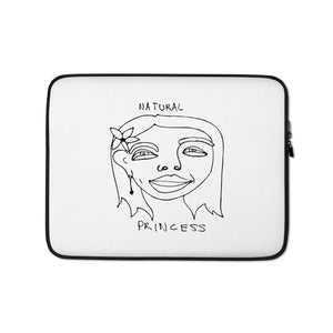 Natural Princess Laptop Sleeve with Black Print