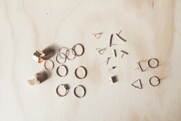 Rings and studs from the Seattle jewelry company Baleen. Minimal, affordable, trendy jewelry. Handmade in Seattle, Washington.