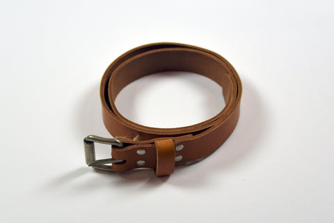 Natural Leather Roll Buckle Belt