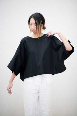 Super Wide Crop in Black Linen