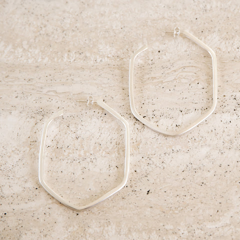 Bold Honeycomb Hoop Earrings in Silver