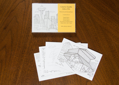 Seattle Coloring Postcard Pack