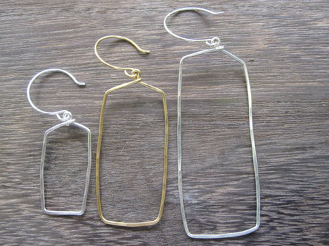 Small Rectangle Shape Hoop Earrings