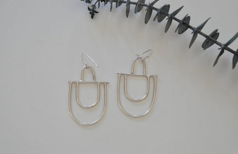 Silver Double Arc Earrings