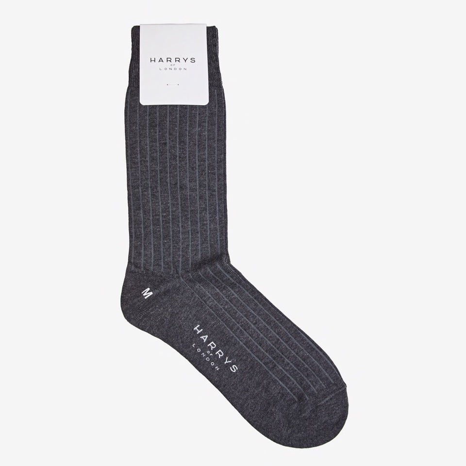 Ribbed Sock Cotton Grey