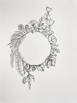 Black ink drawing of a botanical wreath