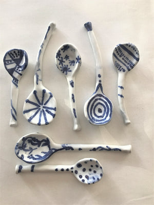 Blue and White Ceramic Spoons