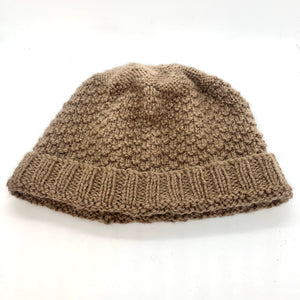 Brown Pure wool handknitted beanie with moss stitch