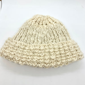 Handspun natural Corriedale knitted beanie.