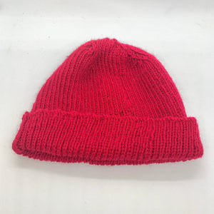 Warm Red rib knit beanie in 100% australian wool.