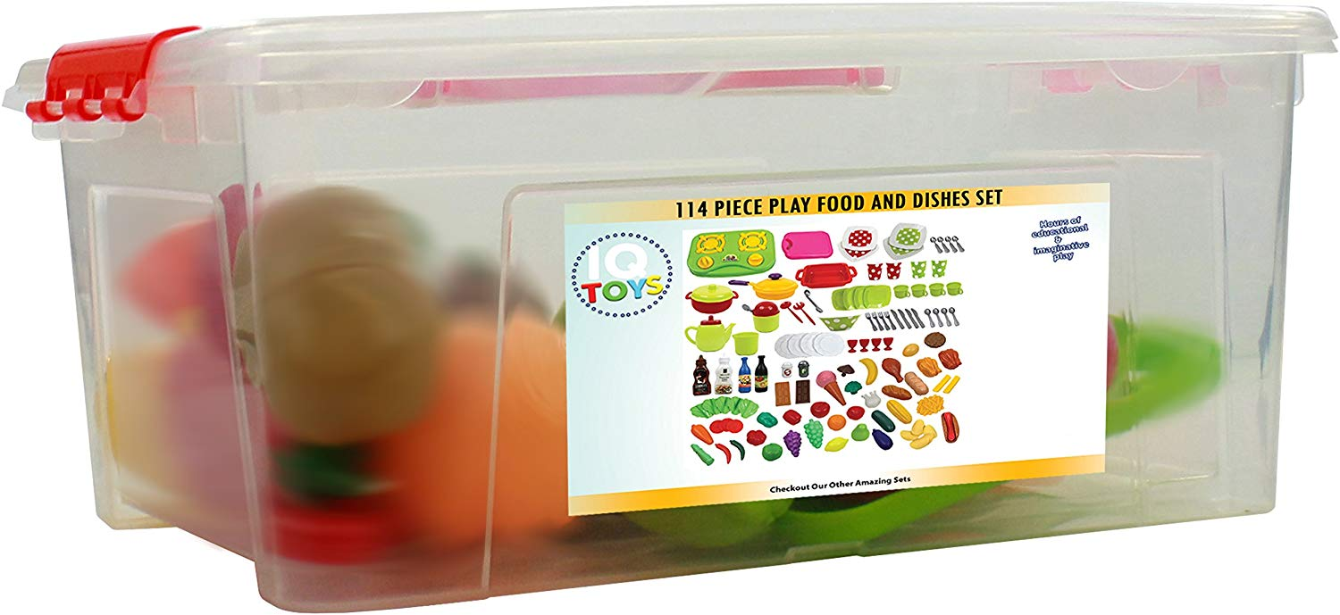 Deluxe 114 piece Play Dishes & Play Food Set in a Storage Container
