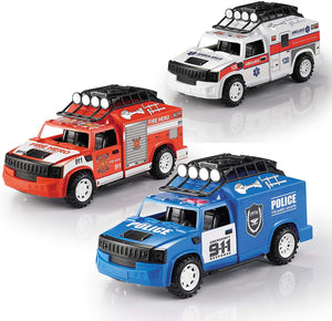 IQ Toys Set of 3 Emergency Vehicles Playset - Ambulance, Fire and Police Truck with Lights and Sirens
