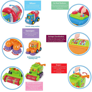 3 Friction-Powered City Vehicles for Toddlers, with Cement Truck, Sweeper Cleaning Truck and Harvesting Truck