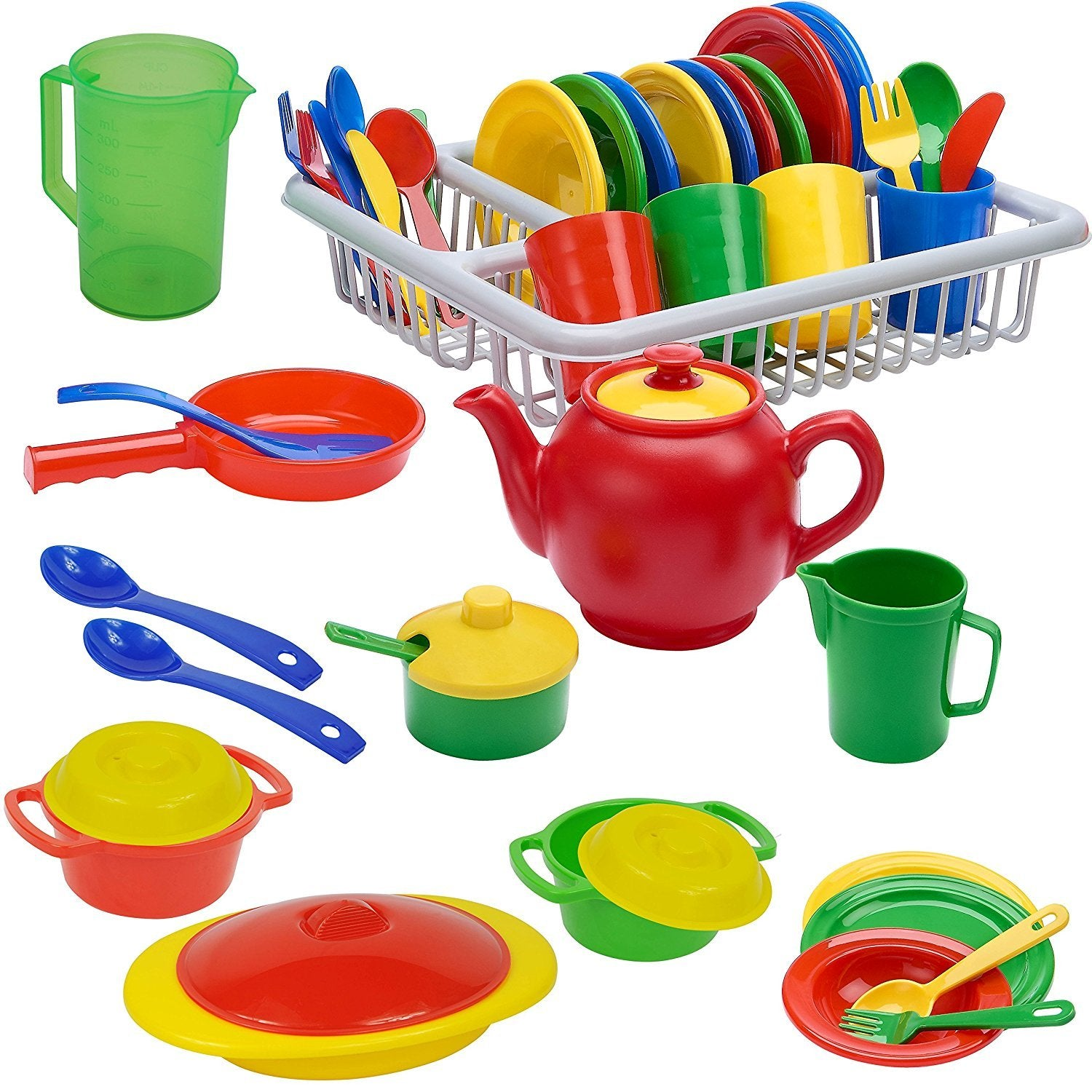 IQ Toys Incredibly Realistic Pretend Play Dish Set - Complete Service For 4 With Drainer; Bright Colored Set of 40 Pieces