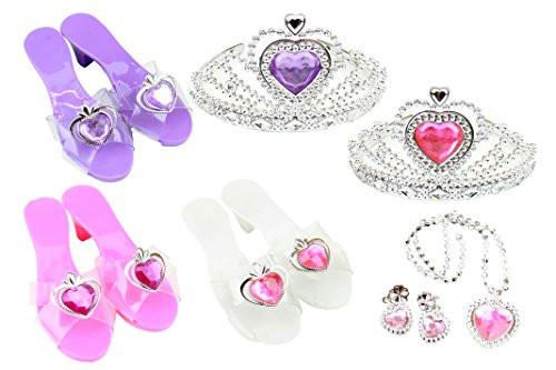 Super star 8 piece Dress up Shoes Jewelry and Crown set.